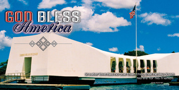 Church Banner featuring Arizona Memorial with GOD Bless America Theme