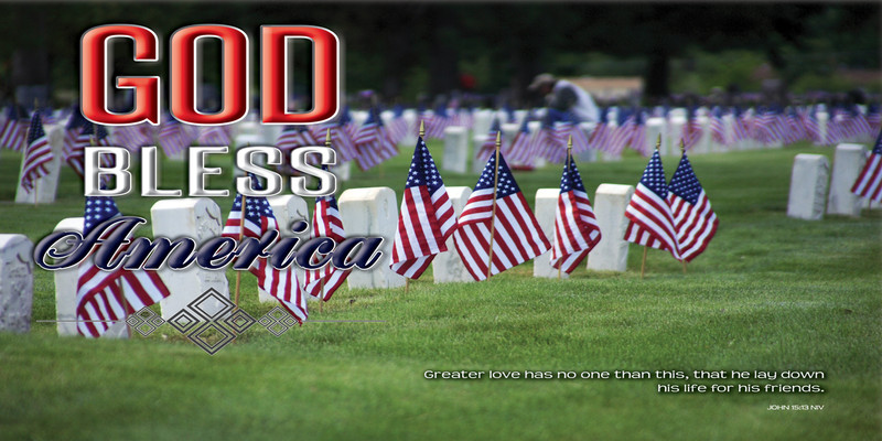 Church Banner featuring Grave Markers with GOD Bless America Theme