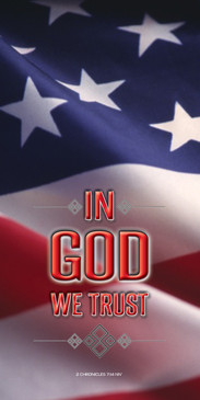 Church Banner featuring Flag with In GOD We Trust Theme