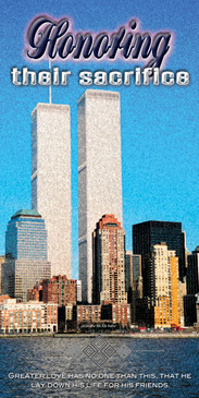 Church Banner featuring World Trade Center with Honoring Their Sacrifice Theme