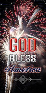 Church Banner featuring Fireworks with God Bless America Theme