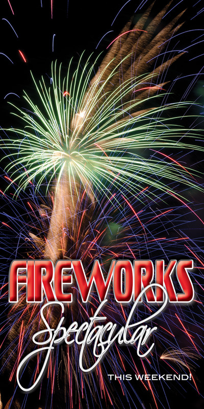 Church Banner featuring Fireworks with Patriotic Theme