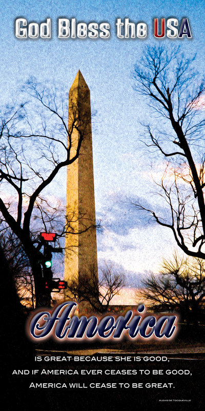 Church Banner featuring Washington Memorial with Patriotic Theme