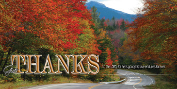 Church Banner featuring Road and Beautiful Fall Colors with Thanksgiving Theme