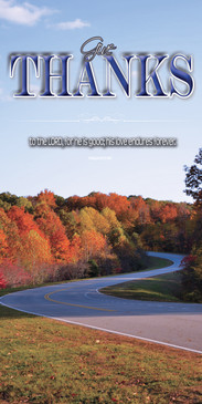 Church Banner featuring Road with Fall Foliage with Thanksgiving Theme