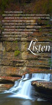 Church Banner featuring Cascading Waterfall with Still Small Voice Theme
