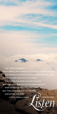 Church Banner featuring Mt. Haleakala with Clouds and Still Small Voice Theme