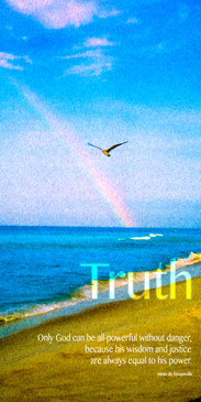 Church Banner featuring Beach, Seagull and Rainbow with Truth Theme