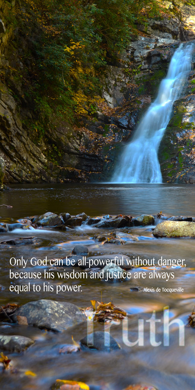 Church Banner featuring Waterfall and Creek Bed with Truth Theme