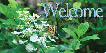 Church Banner featuring Butterfly/Laurels and Welcome Theme