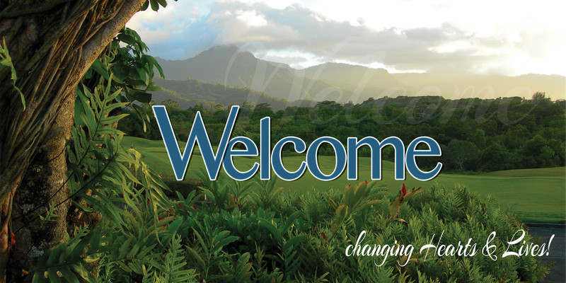Church Banner featuring Hawaiian Landscape and Welcome Theme