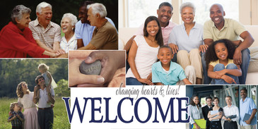 Church Banner featuring ALL AGE GROUPS and Welcome Theme