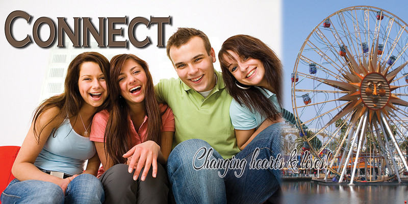 Church Banner featuring Young Adults and Connect Theme