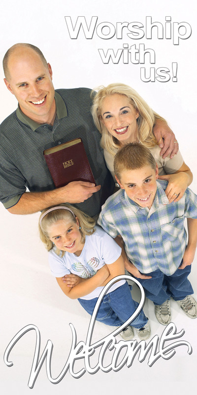 Church Banner featuring Family for Welcome Banner