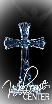 Church Banner with Crystal Cross for Welcome Center