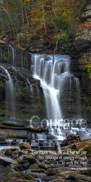 Church Banner featuring Cascading Waterfall Over Rock Shelf with Courage Theme