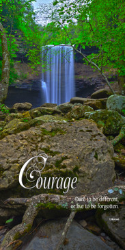 Church Banner featuring Cascading Waterfall in Forest with Courage Theme