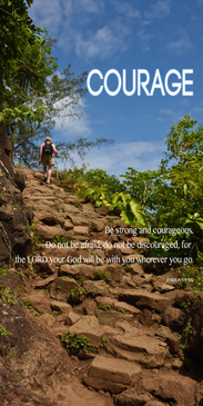 Church Banner featuring Steep Rocky Trail with Courage Theme