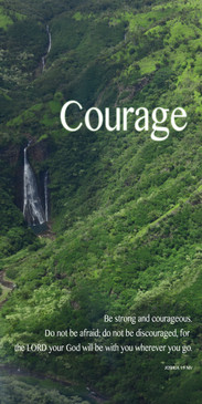 Church Banner featuring Jurrasic Park Waterfall with Courage Theme