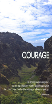 Church Banner featuring Mountain Range with Courage Theme
