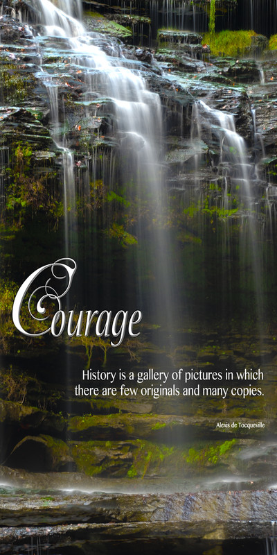Church Banner featuring Cascading Waterfall Over Rocks with Courage Theme