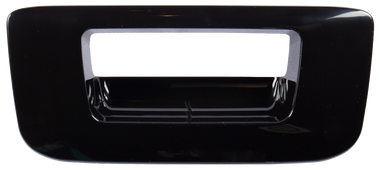 2007-2013 Chevrolet and GMC pickup tailgate handle bezel, smooth black (PTM), w/o keyhole, or camera