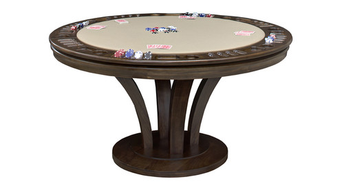 "Premium solid hardwood game table and dining table all in one. 100% solid kiln-dried frame and base available in many sizes. (48"", 54"", 60"", 66"" diameter and 30 1/2"" Height) Available with game storage or Bumper Pool and comes in various cloth and finish options."
