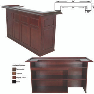 "7' Dry bar with removable shelf for fridge pocket available in black, chestnut, cappuccino and english tudor stains. 26""x84""x44"""
