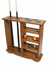 holds 10 cues and 2 sets of balls, available in various stains