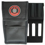 National Darts Federation dart wallet case includes insert and front storage pocket. Black