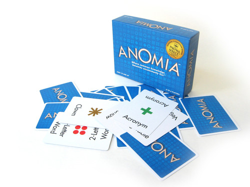 Anomia will have you shouting and laughing out loud. Whether its a sport, a pizza topping or a frozen food be ready to yell it out loud if the symbol on your card matches another players. This fast paced card game will have players gearing up for a face off.  3-6 players     10+     30 min