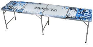 "Measures 95""x24""x 27"" height.  Beer Pong is generally played by teams of two in which each team takes turns throwing a ping pong ball into the other teams cup.  Once a ball lands in a cup, the cup is taken away and the opponent then drinks the contents of the cup."