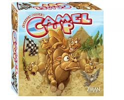 Players bet on five racing camels trying to figure out which will place first and last in a race around a pyramid. The earlier you place your bet the more you can win, that is if you guess correctly. Camels move depending on how the dice come out of the pyramid dice shaker which releases one die at a time. Camels don't always run neatly, sometimes landing on top of another being carried toward the finish line.  2-8 players     8+     20-30 min