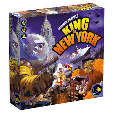 King of New York introduces lots of new ways to play, while still keeping the core ideas of King of Tokyo. You are a giant monster competing against other immense creatures to become King of New York. Each borough has its own charm, there are buildings to stomp, vengeful military units to destroy and 6 new monsters.  2-6 players     10+     40 min