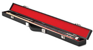 Black fully lined hard cue case will hold 1 butt and 1 shaft standard pool or snooker cue