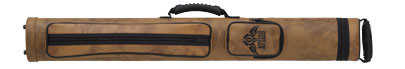 Tan hard cue case with padded adjustable shoulder strap, 2 accessory pockets available with flames, guns, wings, or horseshoe on small pocket will hold 2 butts and 2 shafts standard pool or snooker cues