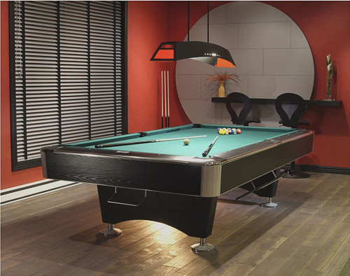 "The Black Crown II pool table has developed a reputation for consistent and quality play.  Oversized black laminated hardwood rails and 1"" premium slate supported by a 21/4"" thick frame to ensure maximum strength and rigidity makes this billiard table one of the finest available.  8"" diameter zinc levelers maintain and ensure a precise level."