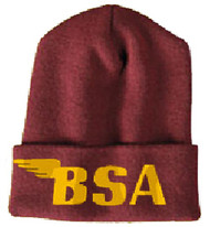BSA motorcycle knit hat (maroon/gold)