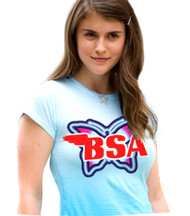BSA ladies tee shirt blue (neon butterfly)