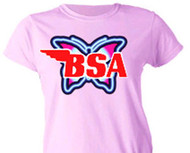 BSA ladies tee shirt (neon butterfly)