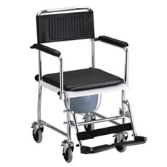 Drop arm shower transport chair commode