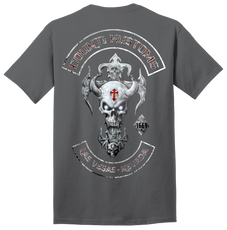 Mens Skull Rocker Kross Tee - Charcoal