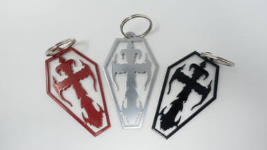 """Don't forget your metal Kross Count's Kustom Key Chain! Pick between red, black, or silver!   Width 2""""  Height 3""""  Depth .1 CM"""