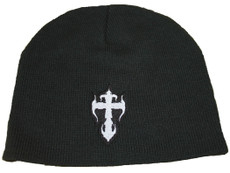 Beanie - Black with White Kross (on back order)