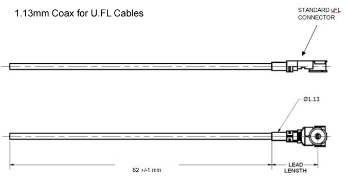 1.13 coaxial cable with a U.FL female right-angle connector