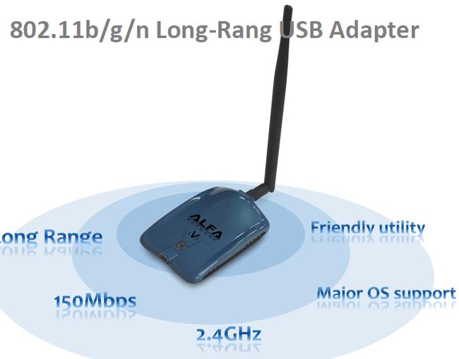 Alfa Longest-Range USB Adapter: AWUS036NHV 802 11b/g/n - Replaces AWUS036H