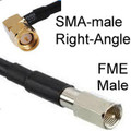 Antenna cable: FME-male to SMA-male Right-Angle: 8-inch RG174 cable