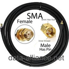 SMA Extension Cable: 15-Foot SMA male To SMA female (blkhd)