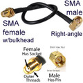 SmRA3iSf round screw-type connector SMA male Right Angle To SMA female straight