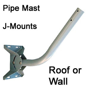 Pipe Mast Antenna J Mount w/Bracket for Roof or Wall: 21-in, 28-in, 38-inch  & Extension